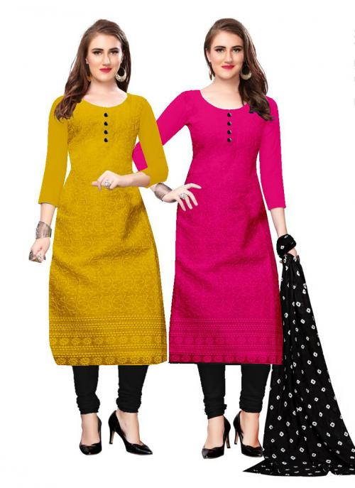 Pink And Yellow Cotton Daily Wear Chikan Work Two Top Churidar Style