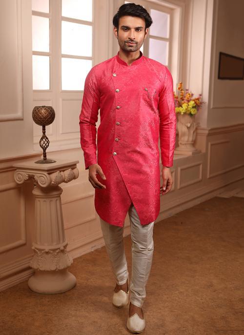 Pink Jacqaurd Wedding Wear Weaving Indowestern