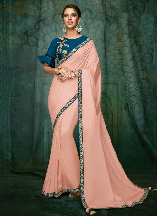 Party Wear Hand Work Pink And Blue Satin Saree