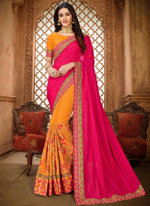 Pink Silk Party Wear Embroidery Work Saree
