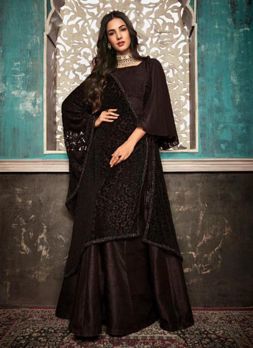 Pure Silk Brown Embroidery Work Wedding Wear Sharara Suit