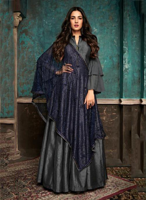 Pure Silk Grey Embroidery Work Wedding Wear Anarkali Suit