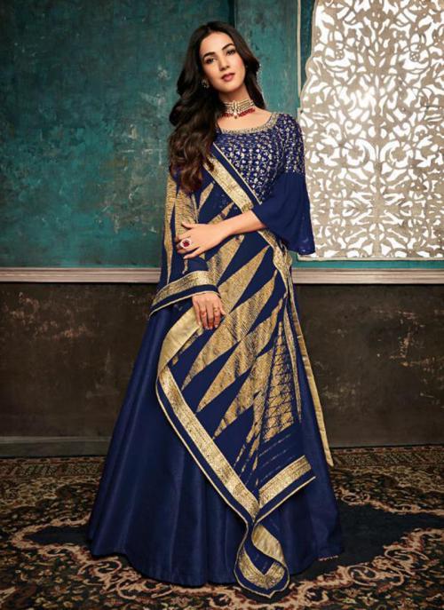 Pure Silk Navy Blue Embroidery Work Wedding Wear Anarkali Suit