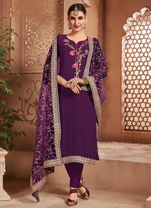 Purple Georgette Party Wear Embroidery Work Churidar Suit