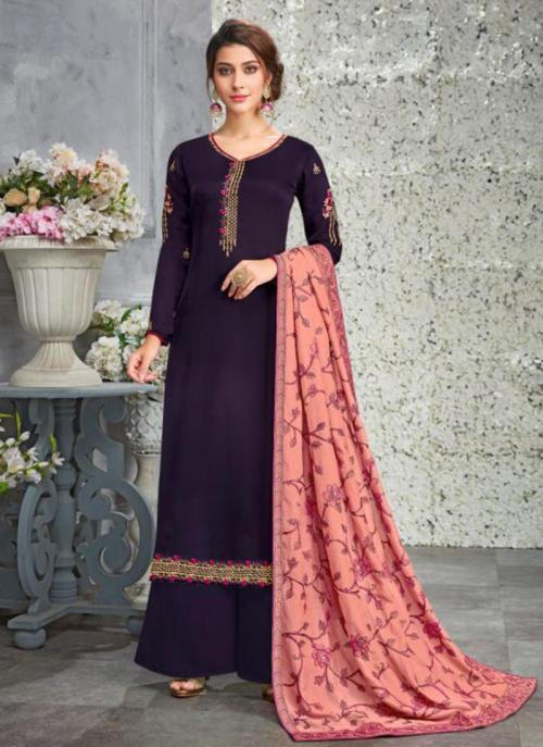 Purple Georgette Satin Festival Wear Embroidery Work Palazzo Suit