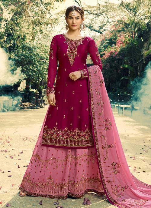 Purple Georgette Wedding Wear Embroidery Work Sharara Suit