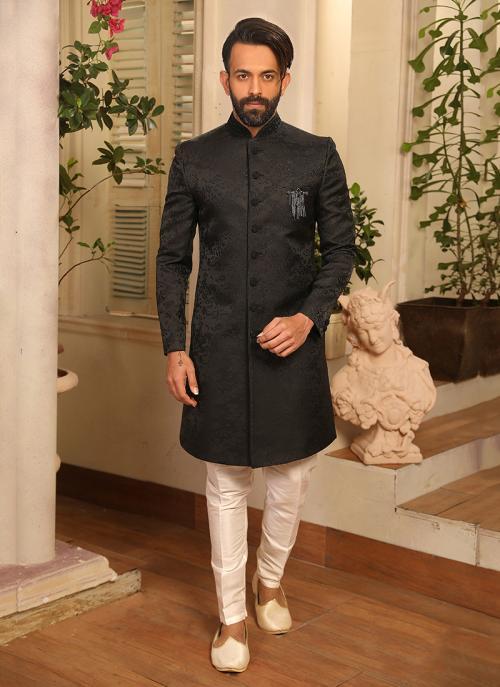 New Reception Wear Black Jacquard Sherwani Style