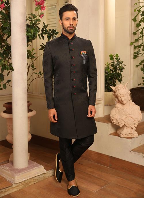Reception Wear Black Jacquard Sherwani Style Suit