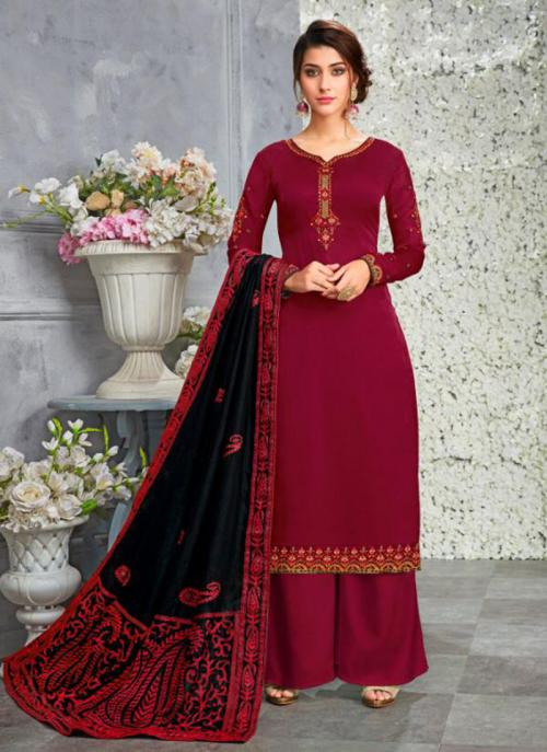 Red Georgette Satin Festival Wear Embroidery Work Palazzo Suit