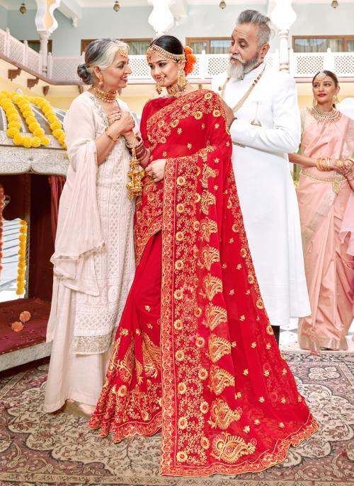 Latest Fancy Red Georgette Wedding Wear Heavy Embroidery Work Saree