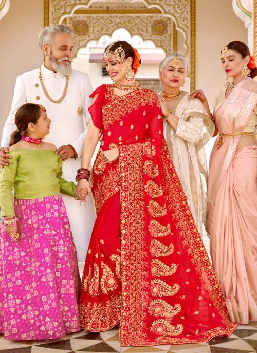Wedding Wear Red Georgette Heavy Embroidery Work Saree