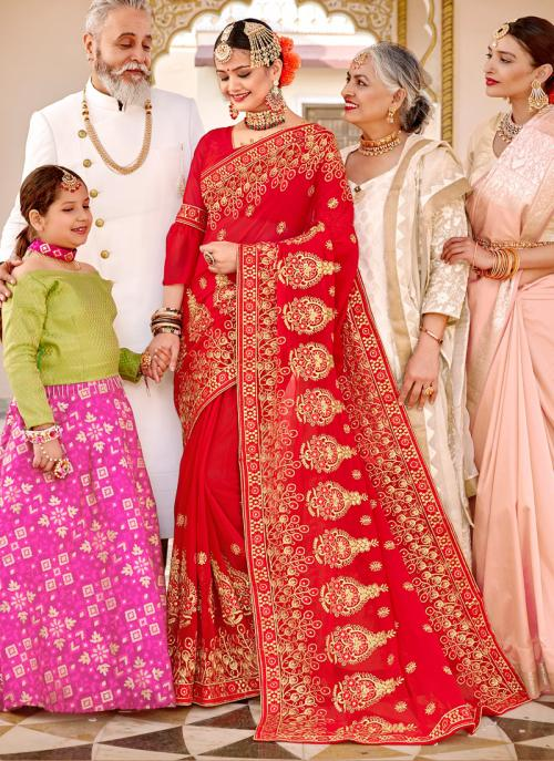 Wedding Special Red Georgette Heavy Embroidery Work Saree