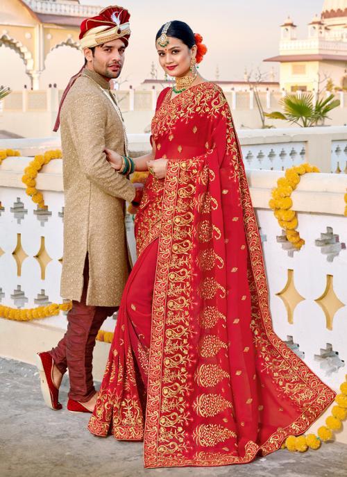 Fancy Red Georgette Wedding Wear Heavy Embroidery Work Saree