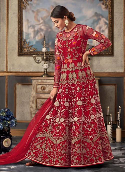 Red Net Wedding Wear Embroidery Work Anarkali Suit