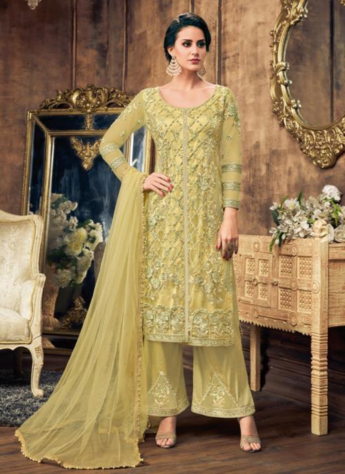 Sea Green Net Wedding Wear Embroidery Work Palazzo Suit