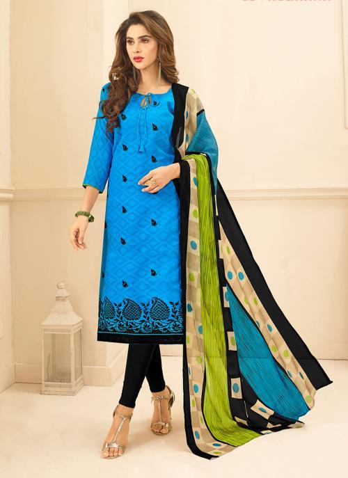 Readymade Black And Sky Blue Jacqaurd Daily Wear Embroidery Work Churidar Suit