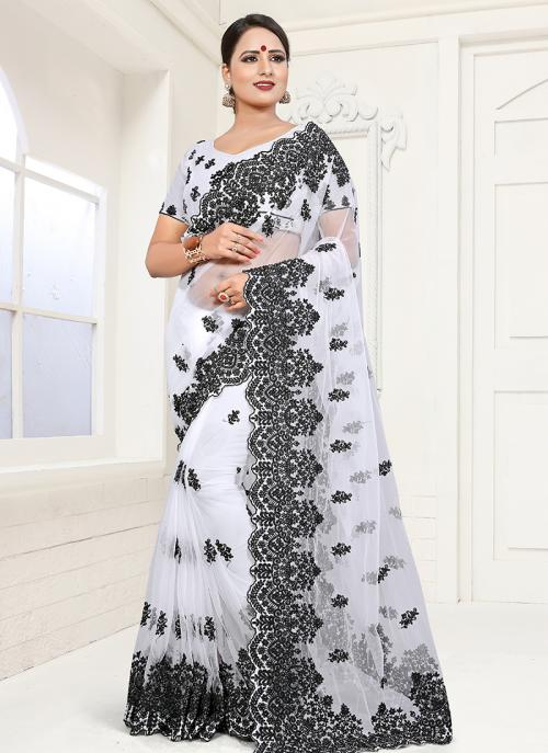 Buy White Net Wedding Wear Black Resham Work Saree Online From Wholesale  Salwar.