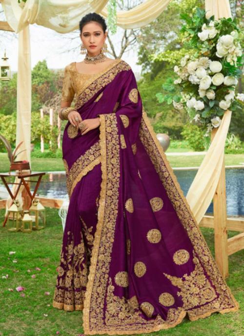 Wine Fancy Reception Wear Heavy Embroidery Work Saree
