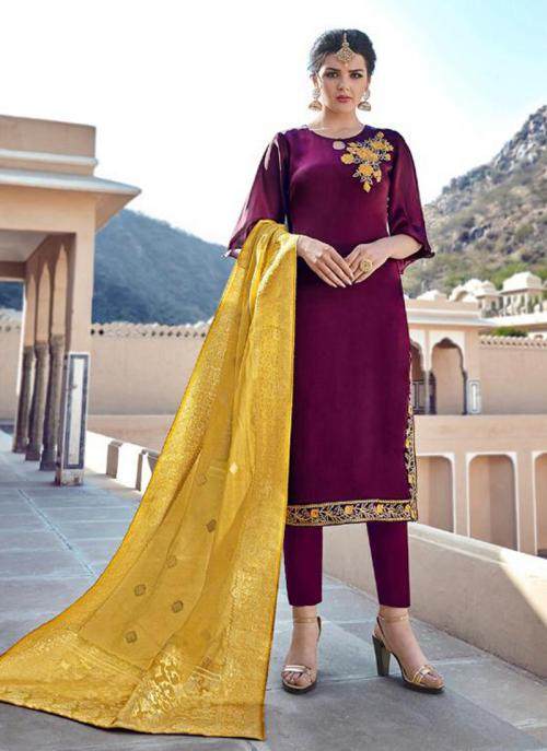 Wine Georgette Satin Party Wear Embroidery Work Churidar Suit