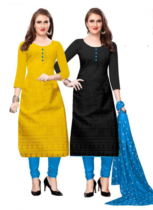 Yellow And Black Cotton Daily Wear Chikan Work Two Top Churidar Style
