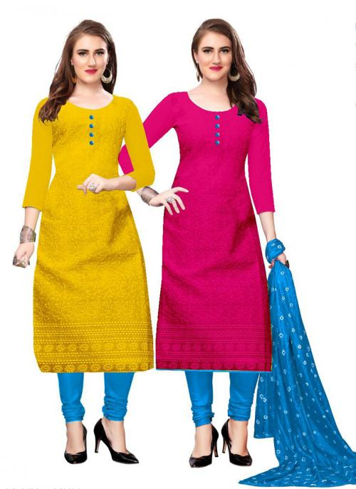 Yellow And pink Cotton Daily Wear Chikan Work Two Top Churidar Style