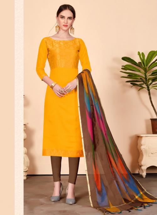 Yellow Banarasi Silk Regular Wear Zari Work Churidar Suit