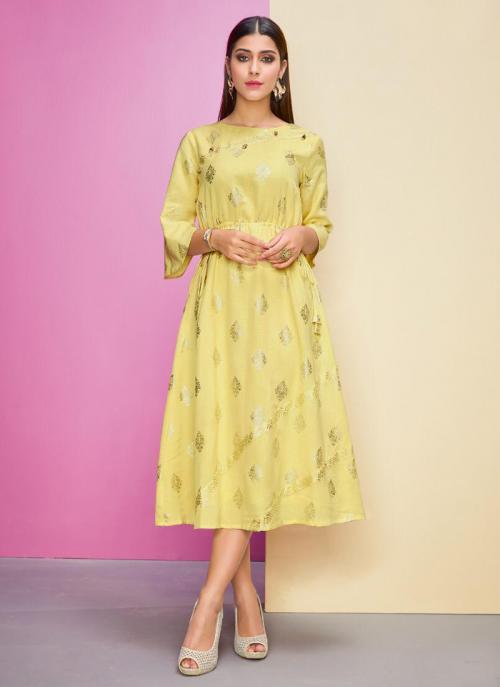 Yellow Rayon Flex Casual Wear Foil Printed Work A Line Kurti